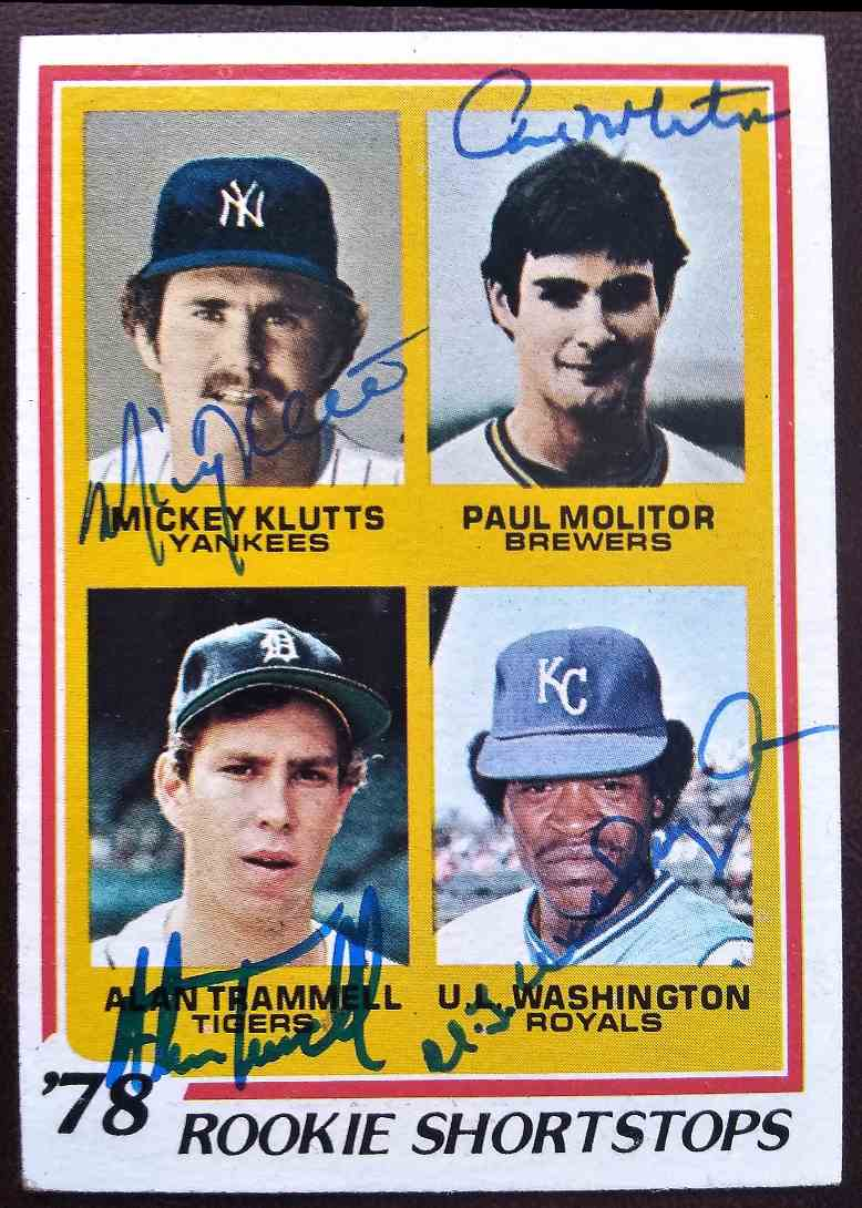 1978 Topps Alan Trammell Paul Molitor Mickey Klutts U.L. Washington #707 card front image