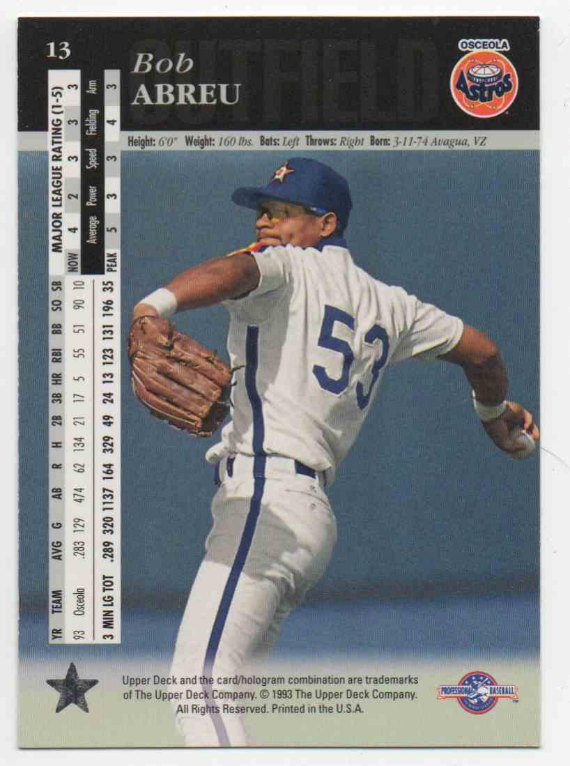 1994 Upper Deck Minors Bobby Abreu #13 card back image