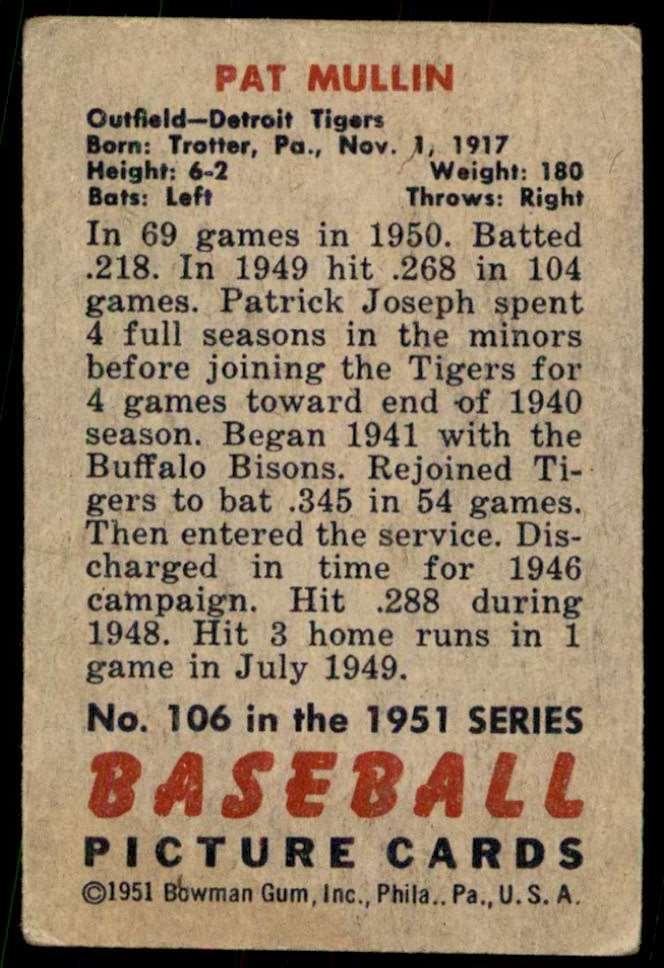 1951 Bowman Vg No Creases Pat Mullin #106 card back image