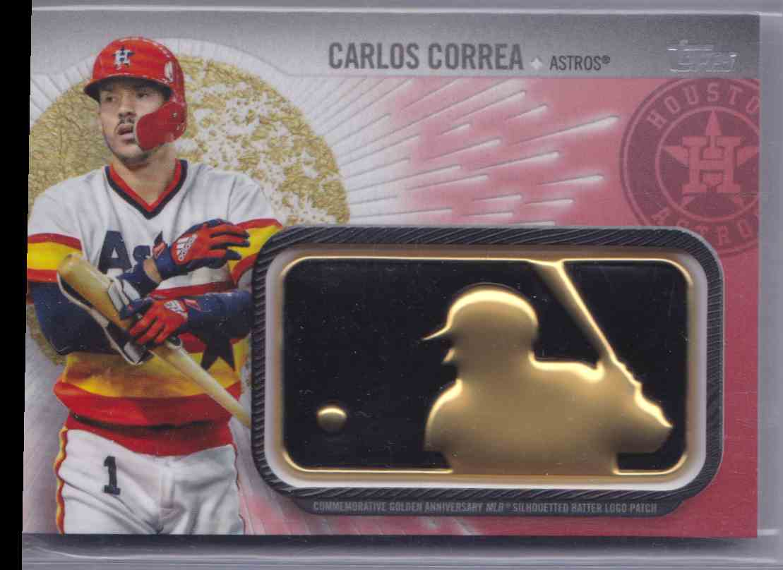 2019 Topps Baseball Golden Anniversary MLB Silhoutted Batter Logo Patch Carlos Correa  Red /25! #GAP-CC card front image