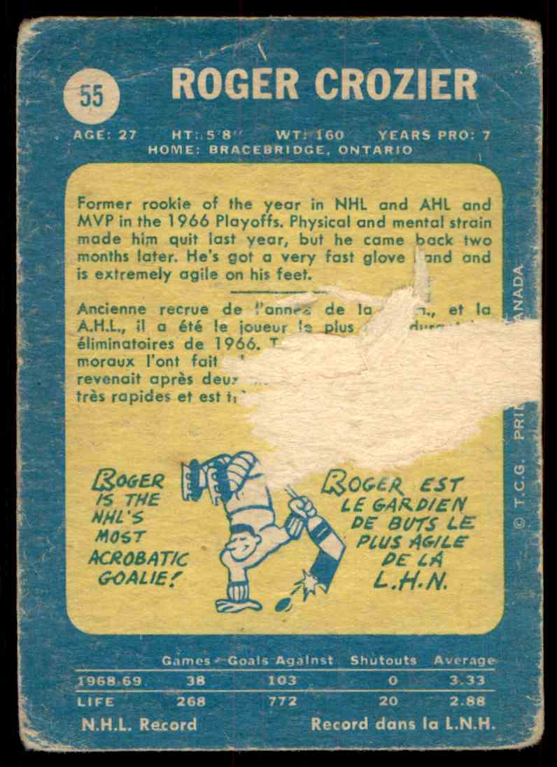 1969-70 Topps Roger Crozier #55 card back image