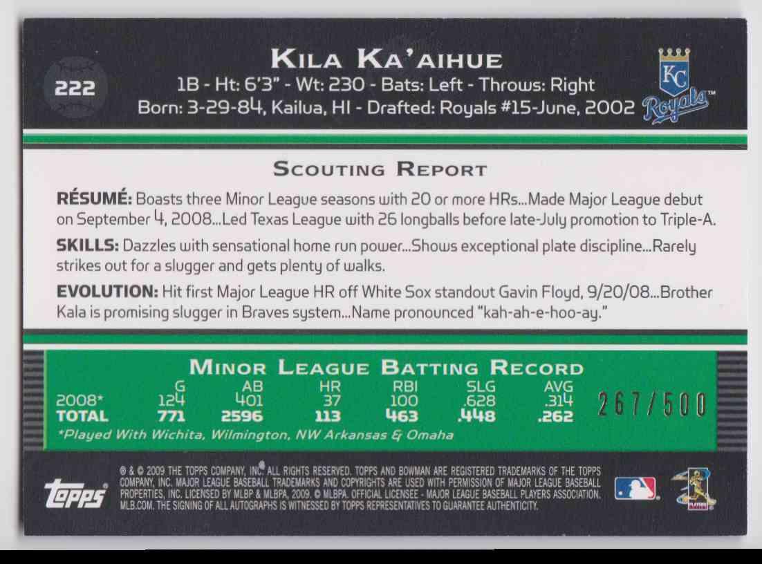 2009 Bowman Blue Autographs Kila Ka'aihue #222 card back image