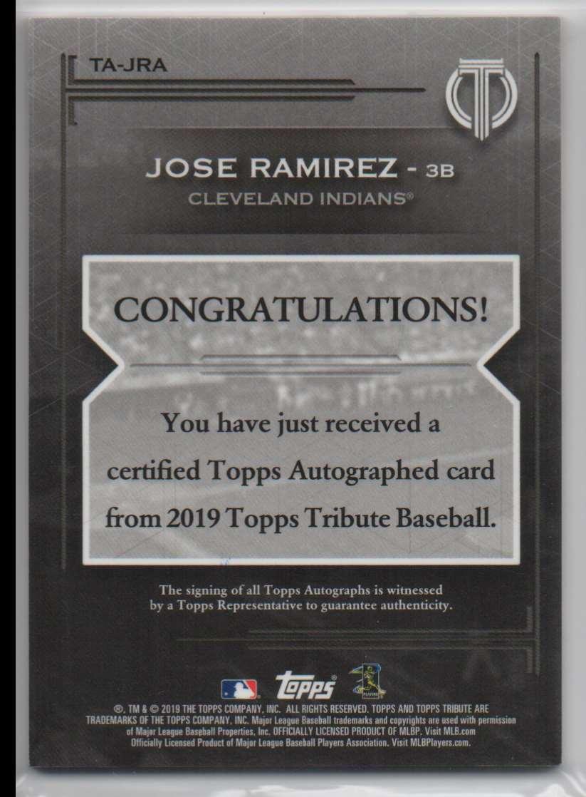 2019 Topps Tribute Autographs Orange Jose Ramirez #TA-JRA card back image