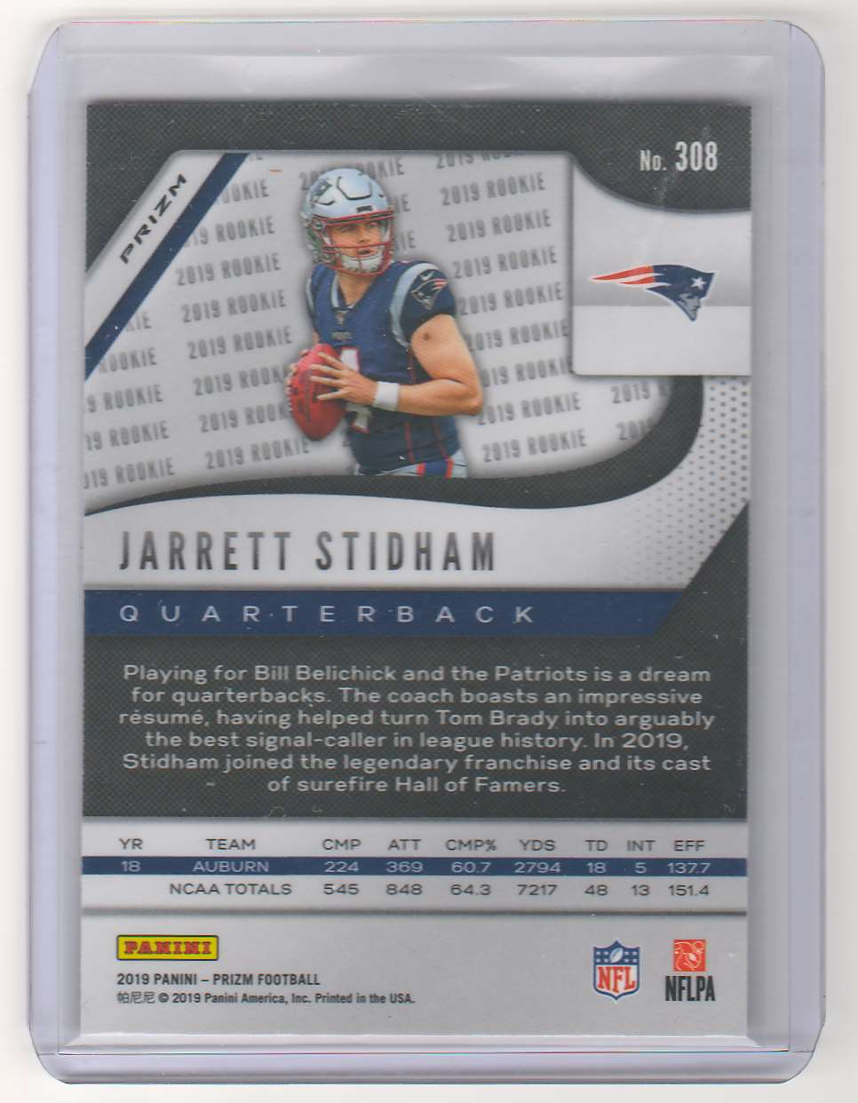 2019 Panini Prizm Jarrett Stidham Red Cracked Ice Prizm RC #308 card back image