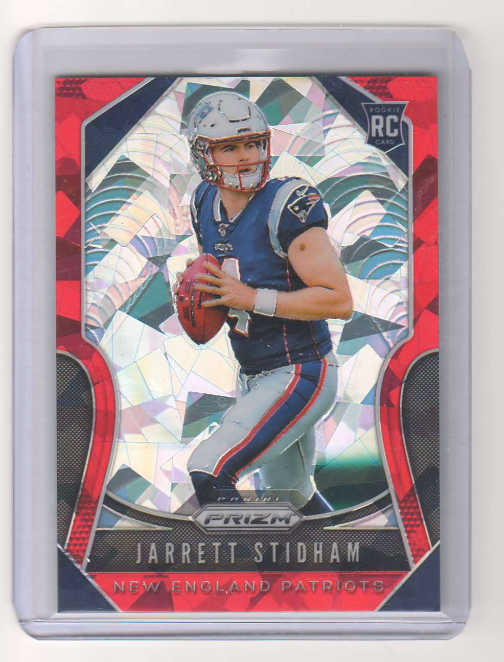 2019 Panini Prizm Jarrett Stidham Red Cracked Ice Prizm RC #308 card front image