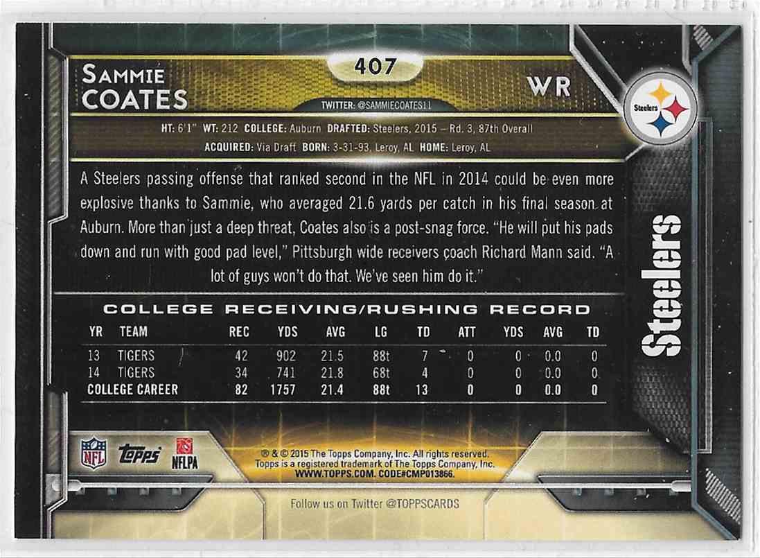2015 Topps Sammie Coates #407 card back image