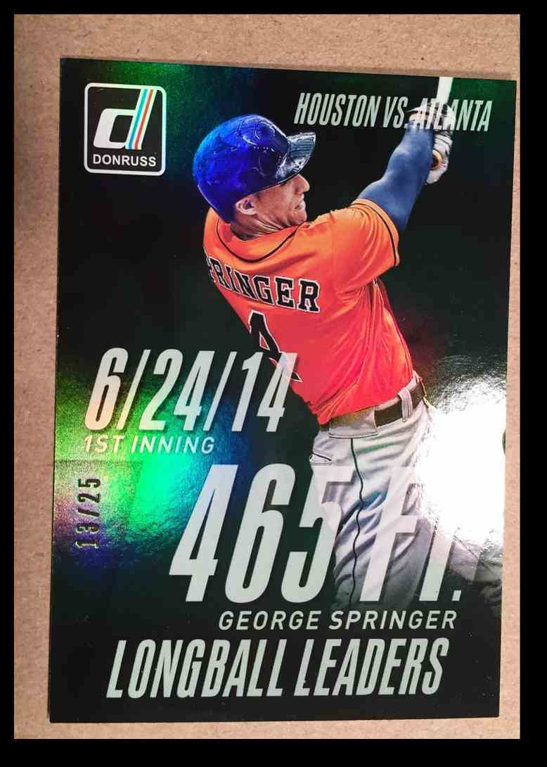 2015 Donruss George Springer Long Ball Leaders Green card front image
