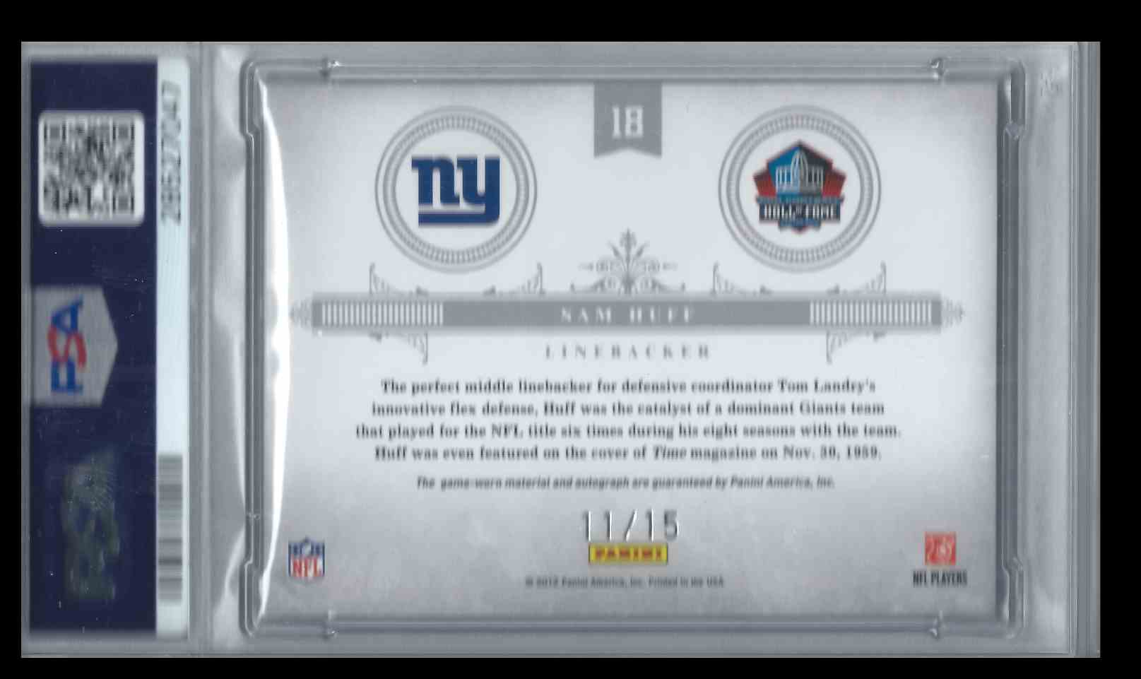 2011 Playoff National Treasures Prime Emblems To The Hall Sam Huff #18 card back image