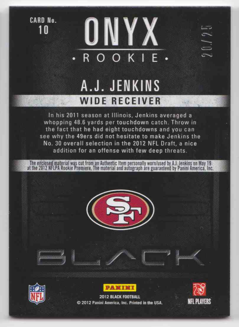 2012 Black Onyx Illini A.J. Jenkins #10 card back image