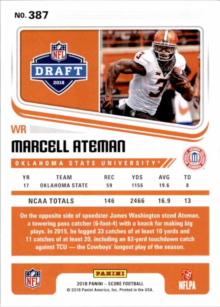 2018 Panini Score Marcell Ateman #387 card back image