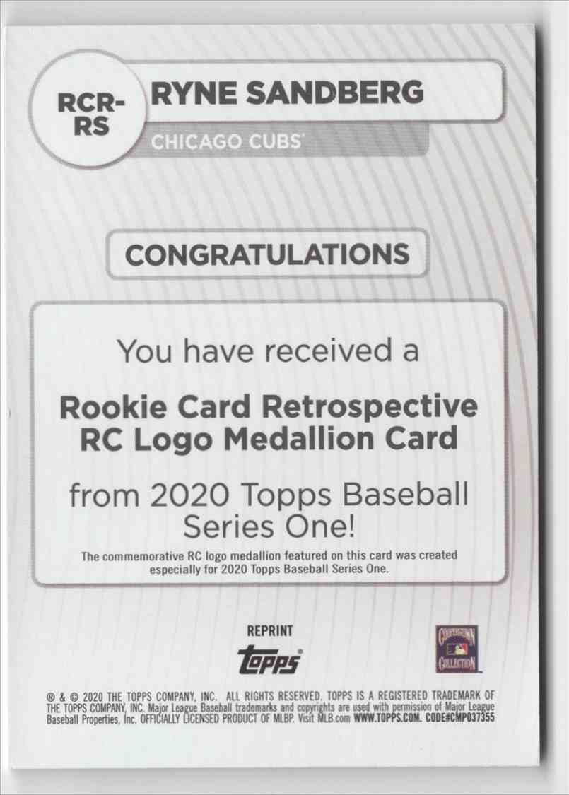 2020 Topps Rookie Card Retrospective RC Logo Medallions Ryne Sandberg #RCRRS card back image