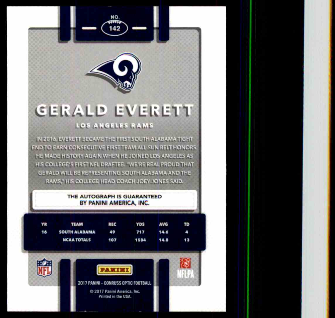 2017 Donruss Optic Bronze Gerald Everett card back image