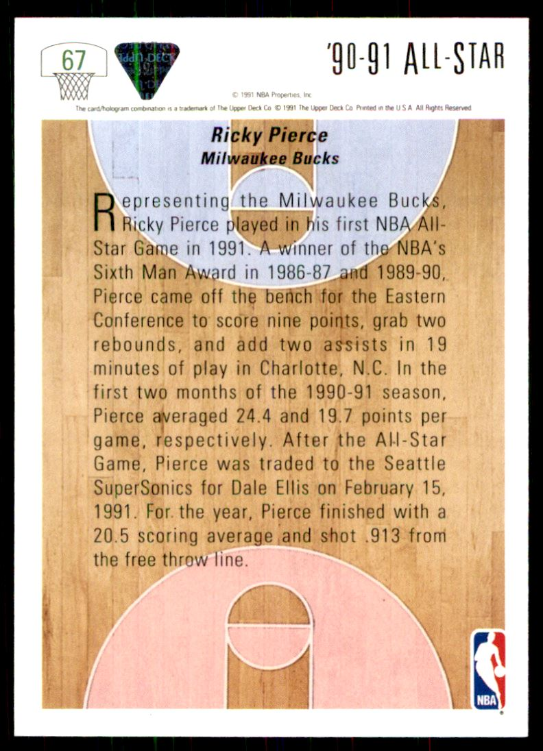 1991 92 Upper Deck Ricky Pierce 67 on Kronozio