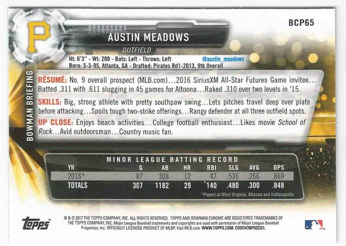 2017 Bowman Chrome Prospect Austin Meadows - Pittsburgh Pirates - Mint #BCP65 card back image