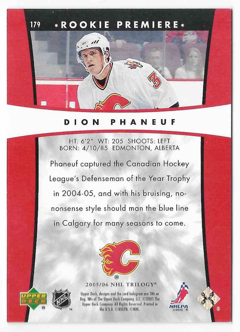 2005-06 Upper Deck Trilogy Dion Phaneuf #179 card back image