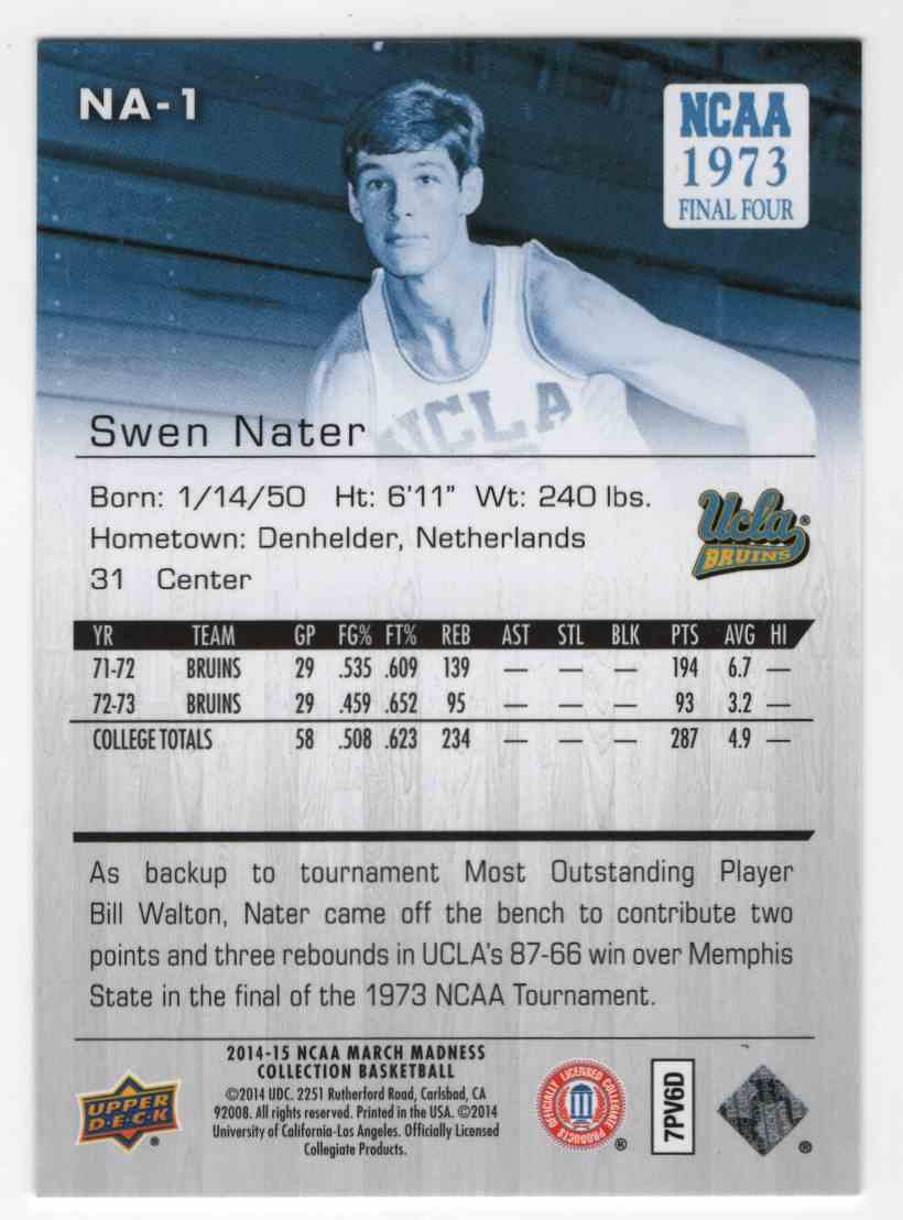 2014 15 Upper Deck March Madness Collection Swen Nater NA1 on
