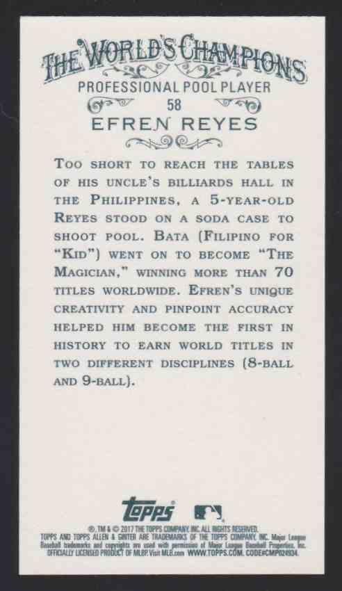 2017 Topps Allen & Ginter Mini Efren Reyes #58 card back image