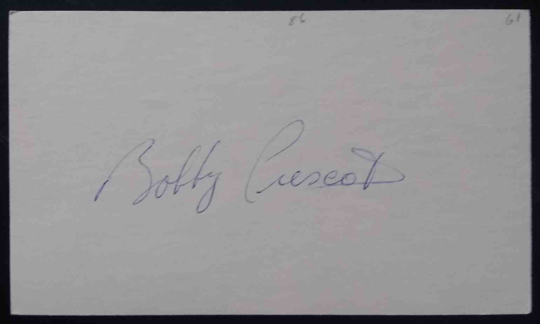 1961 3X5 Bobby Prescott card back image