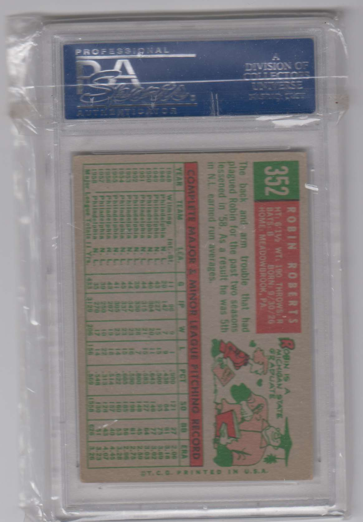1959 Topps Robin Roberts #352 card back image