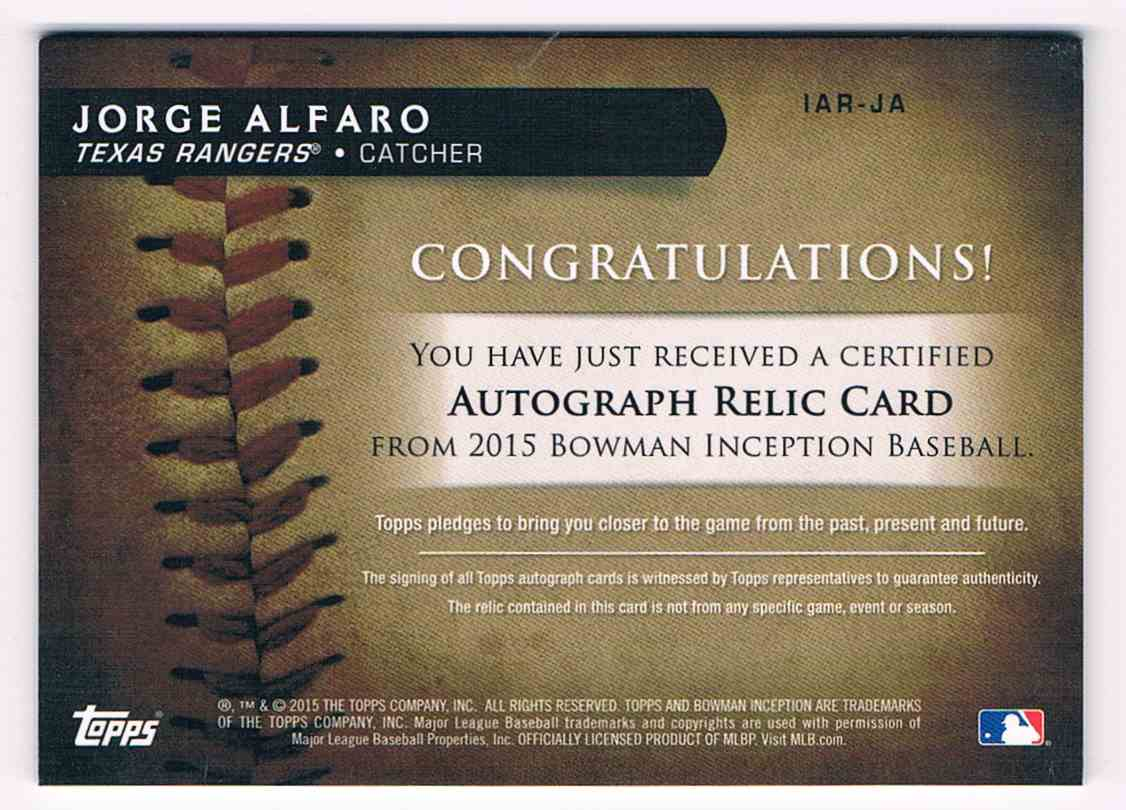 2015 Bowman Inception Jorge Alfaro #IAR-JA card back image