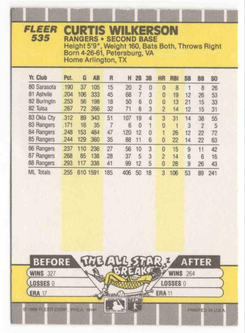 1989 Fleer Curtis Wilkerson #535 card back image