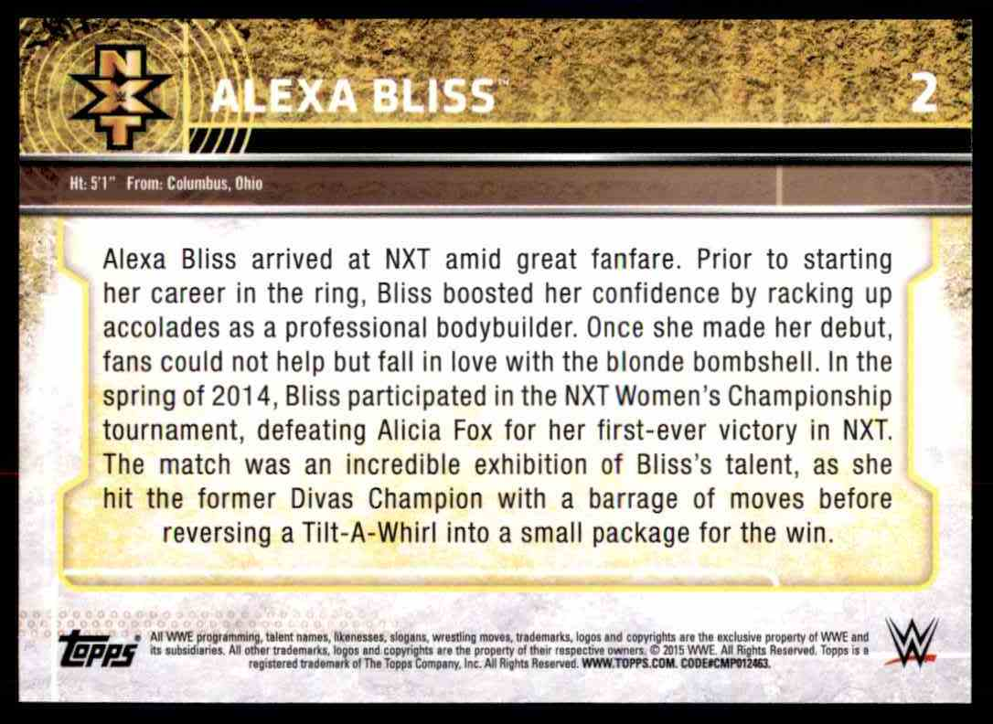 2015 Topps Wwe Nxt Prospects Alexa Bliss #2 card back image