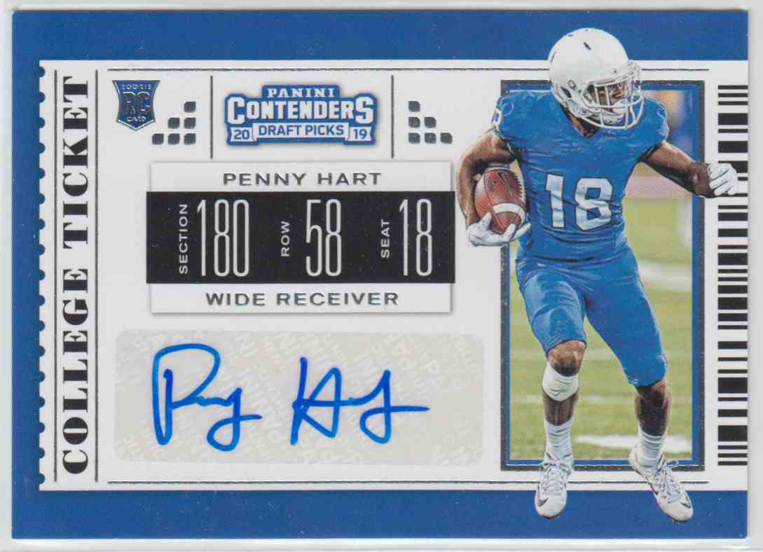 2019 Panini Contenders Draft Picks Rps College Ticket Autograph Penny Hart #248 card front image