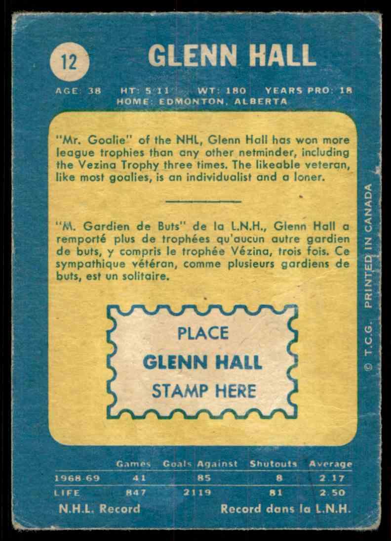 1969-70 Topps Glenn Hall #12 card back image