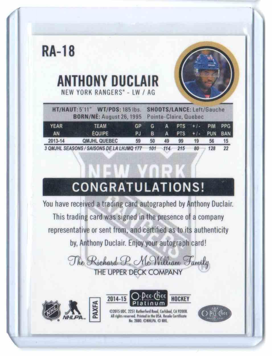 2014-15 O-Pee-Chee Platinum Rookie Autographs Rainbow Anthony Duclair #RA-18 card back image