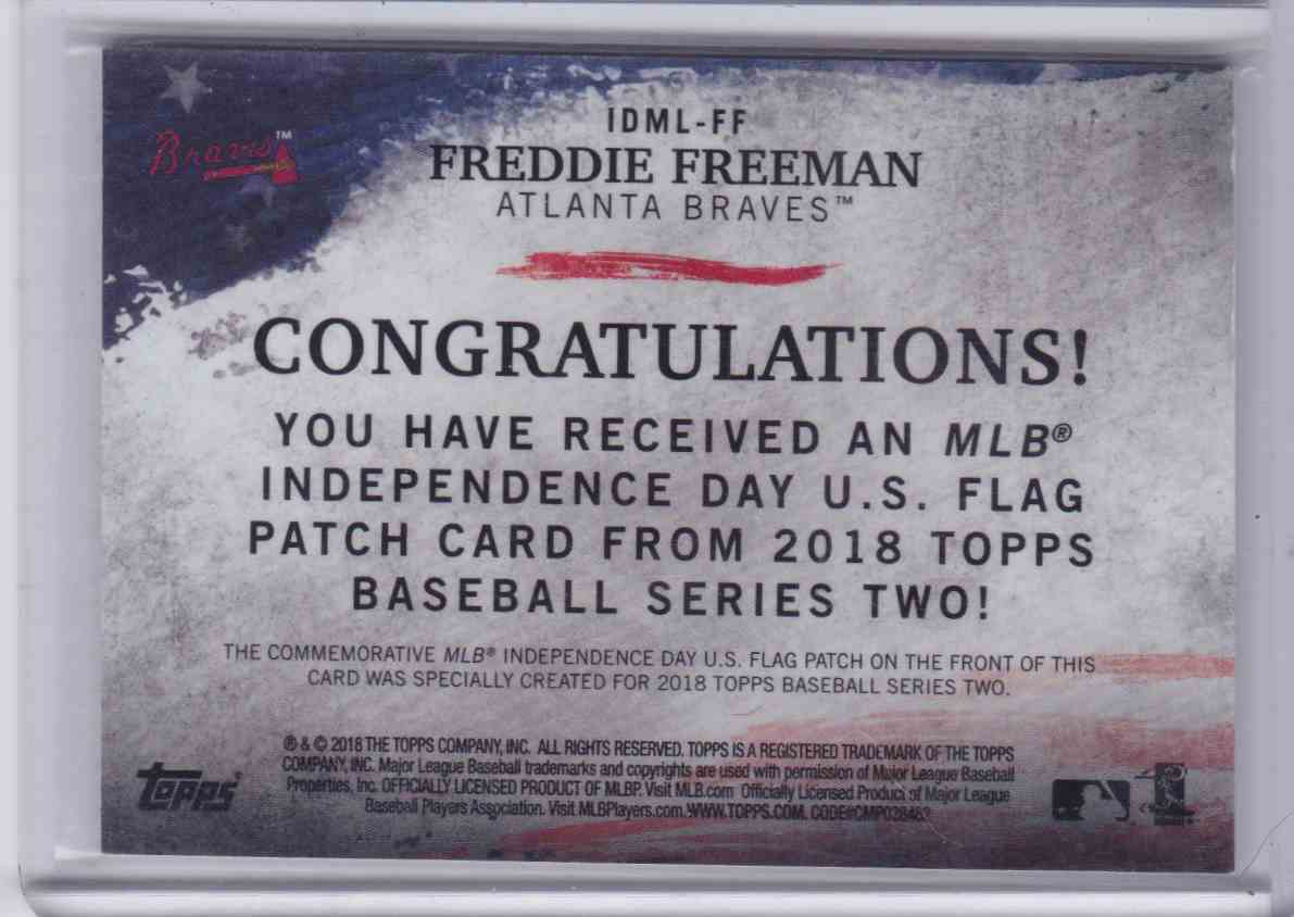 2018 Topps Series 2 MLB Independence Day U.S. Flag Patch Freddie Freeman #IDML-FF card back image