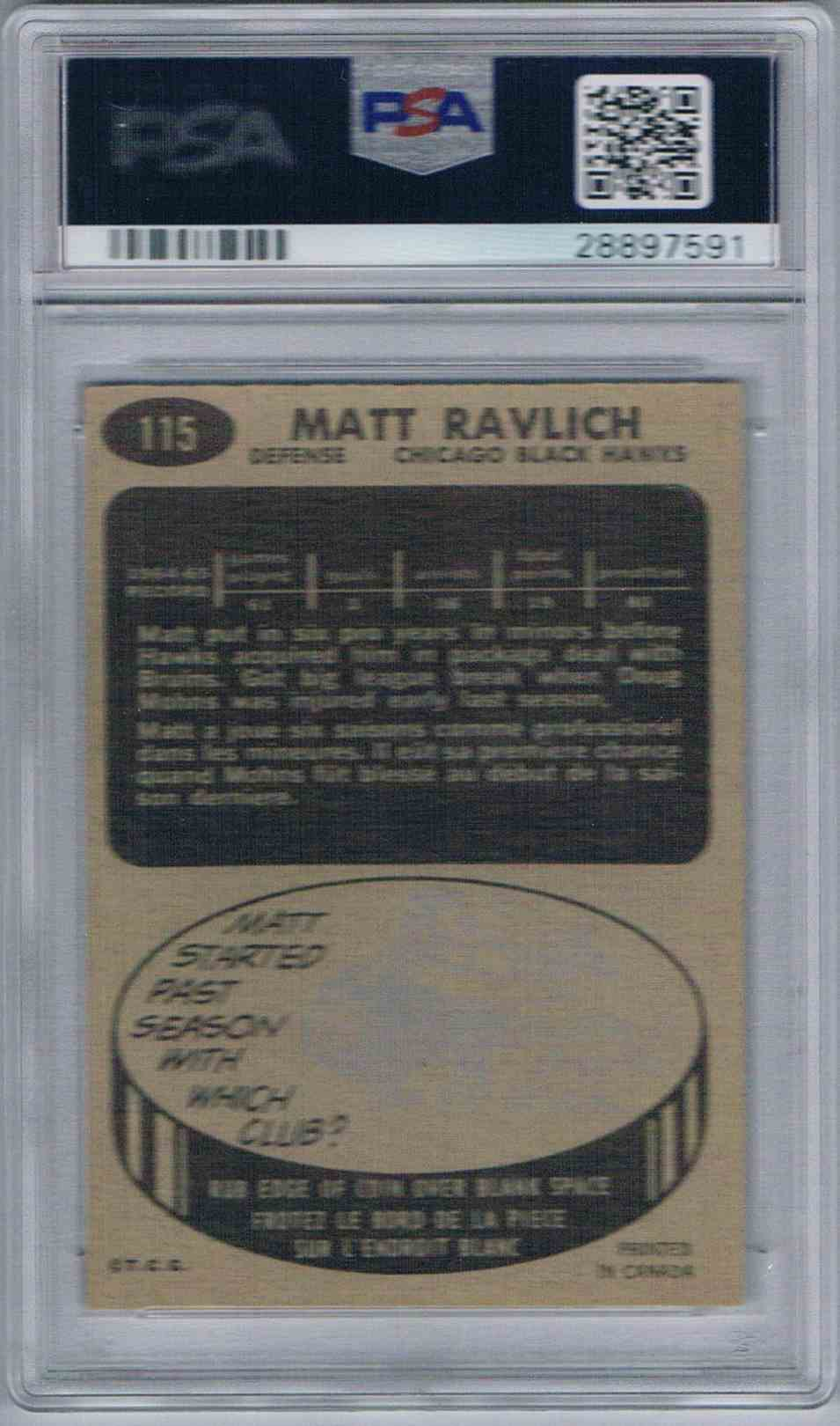 1965-66 Topps Matt Ravlich #115 card back image