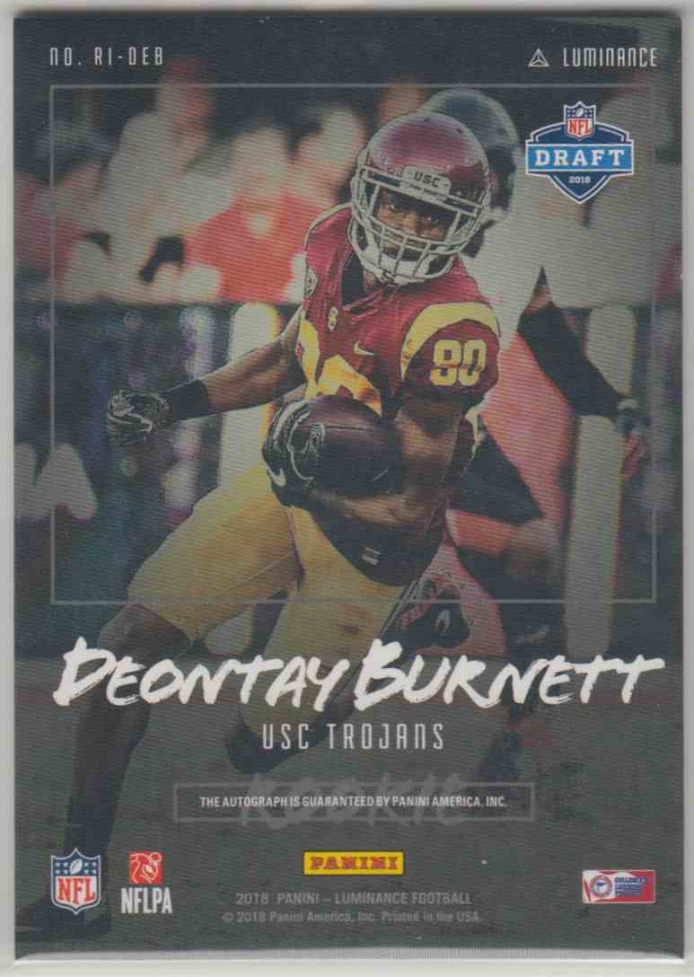 2018 Panini Luminance Rookie Ink Blue Deontay Burnett #RI-DEB card back image