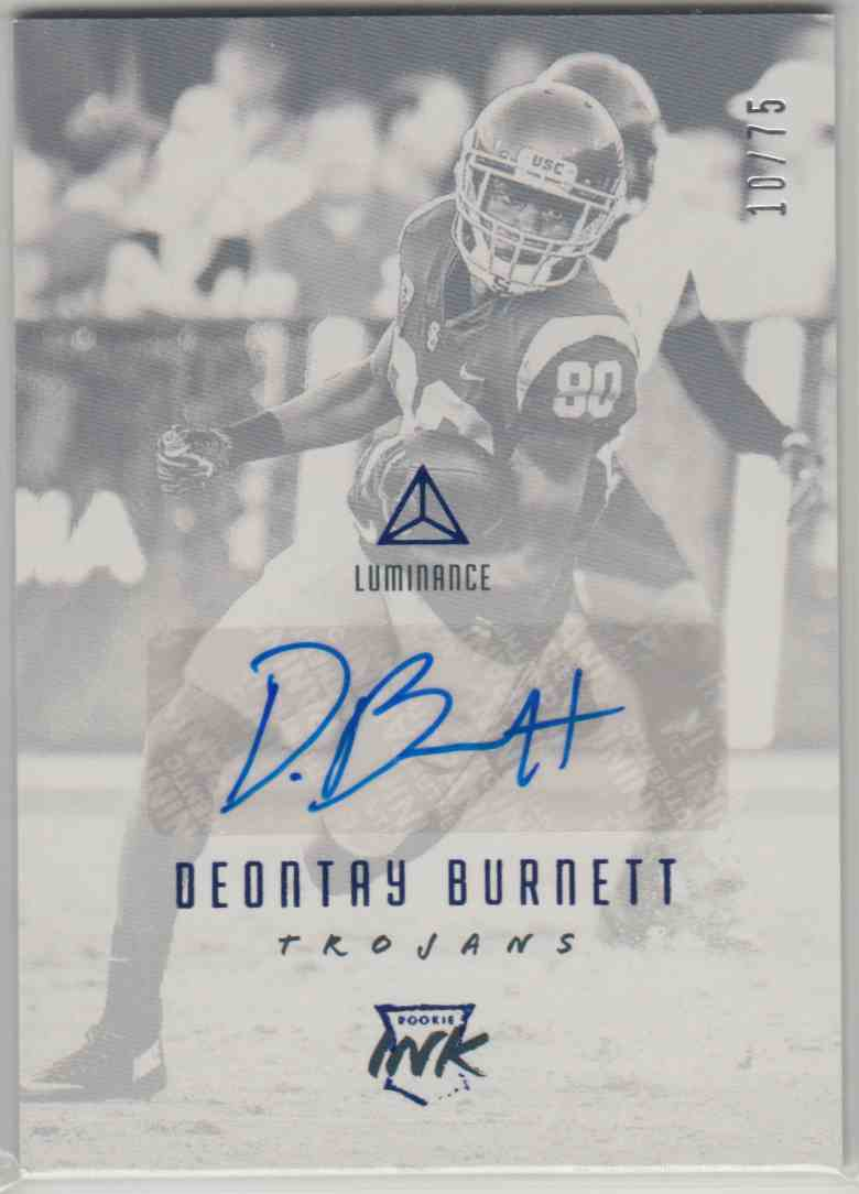 2018 Panini Luminance Rookie Ink Blue Deontay Burnett #RI-DEB card front image