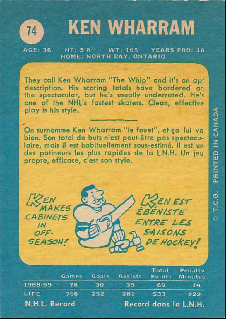 1969-70 O-Pee-Chee Ken Wharram #74 card back image