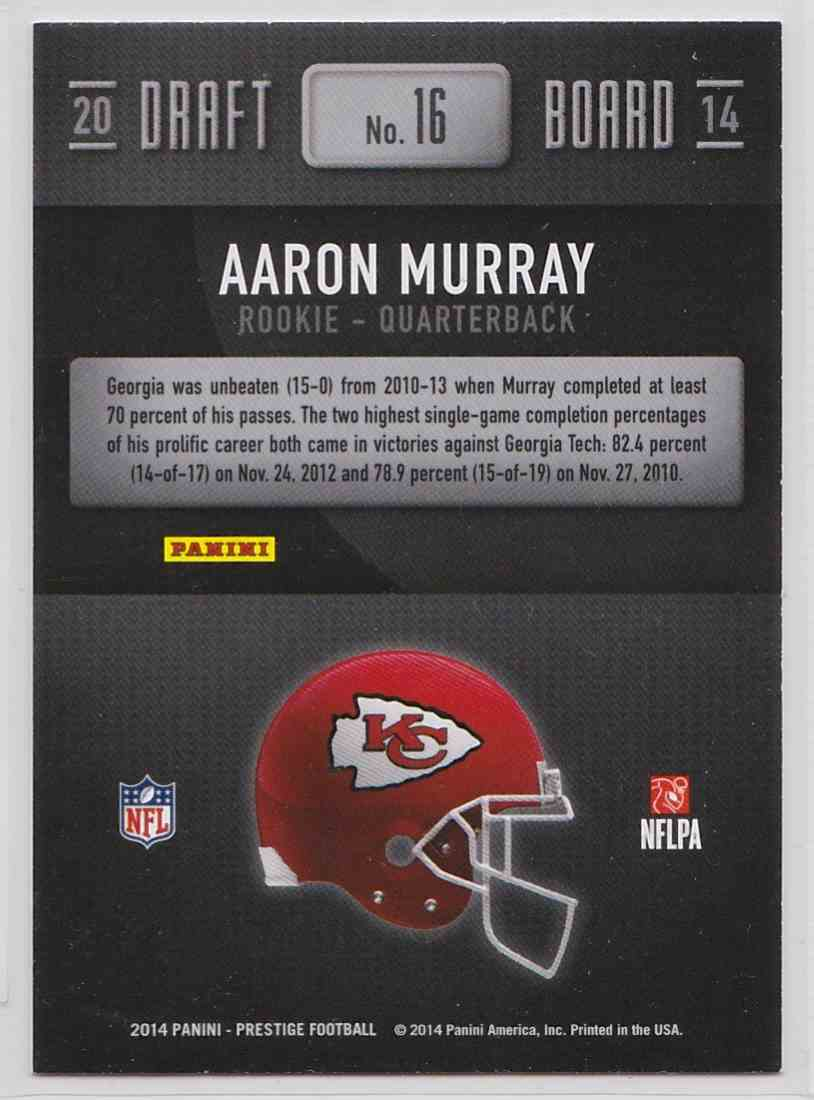 2014 Panini Prestige Big Board Aaron Murray #16 card back image