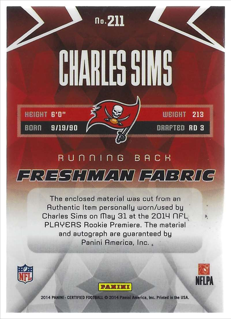 2014 Certified Charles Sims Jsy Au #211 card back image