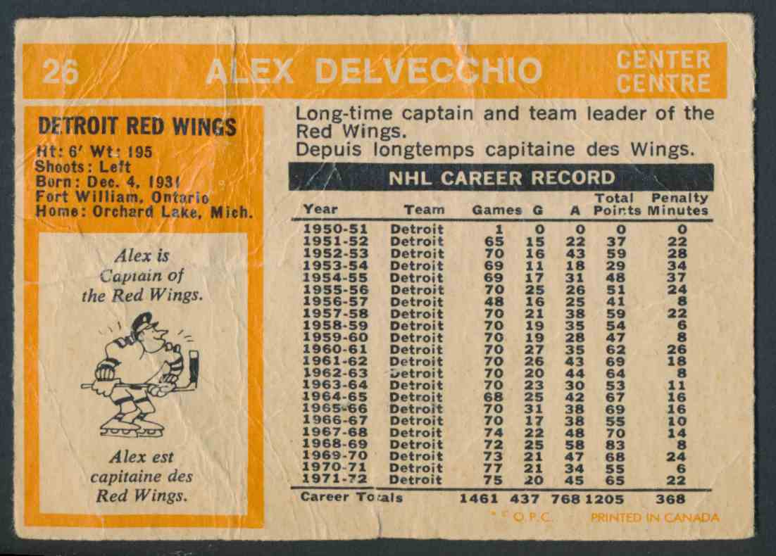 1972-73 O-Pee-Chee Alex Delvecchio card back image
