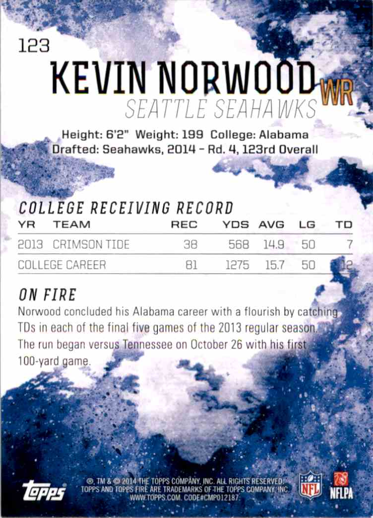 2014 Topps Fire Kevin Norwood RC #123 card back image