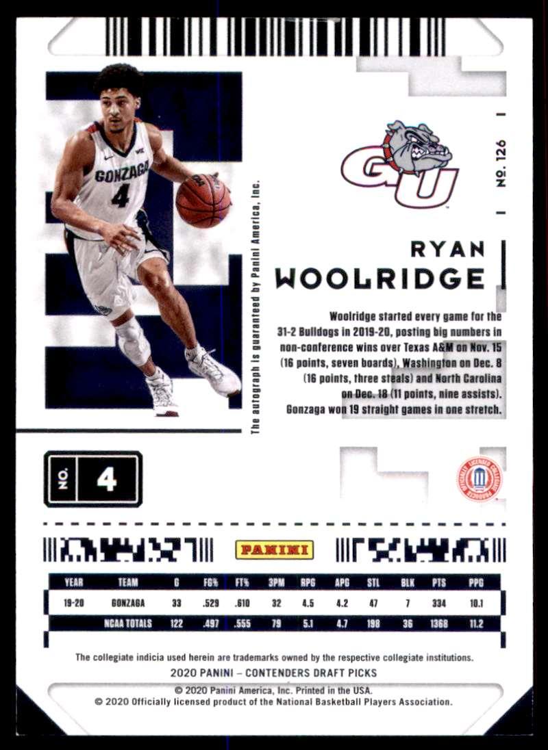 2020-21 Panini Contenders Draft Picks Ryan Woolridge #126 card back image