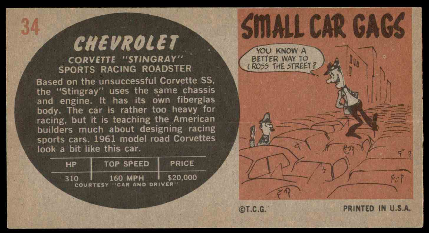 1961 Topps Sports Cars Chevrolet Corvette Quotstingrayquot 34 Chevy Stingray Real Card Back Image