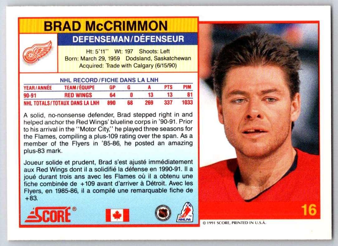 1991-92 Score Canadian Bilingual Brad McCrimmon #16 card back image