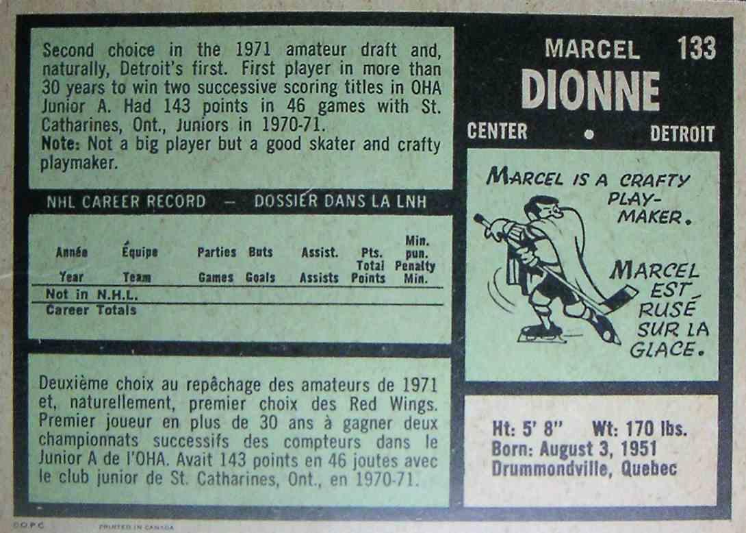 1971-72 O-Pee-Chee Marcel Dionne #133 card back image