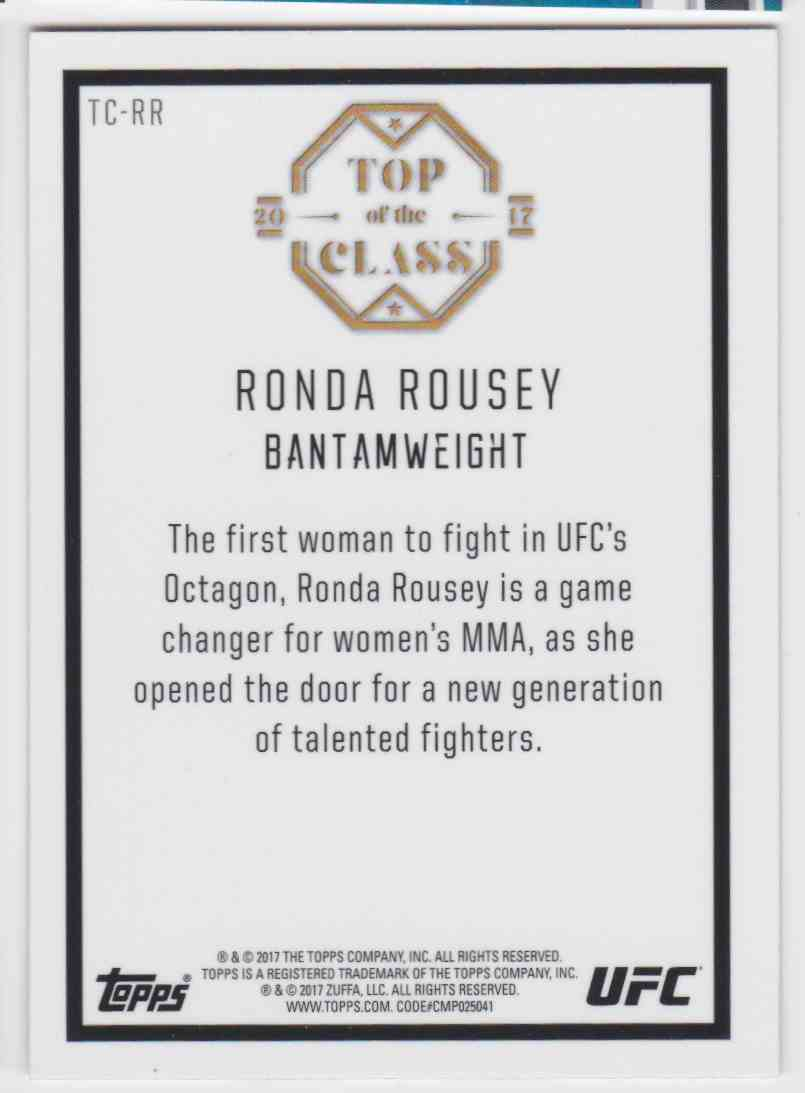 2017 Topps UFC Top Of The Class Rhonda Rousey #TC-RR card back image