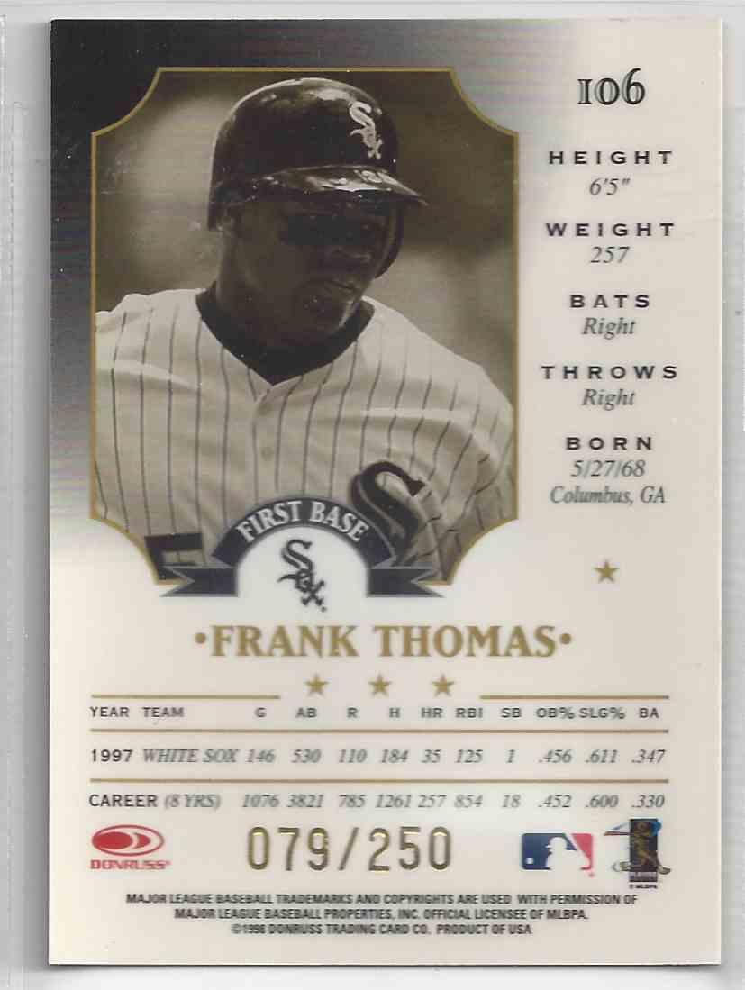 1998 Donruss Leaf Fractal Materials Frank Thomas #106 card back image