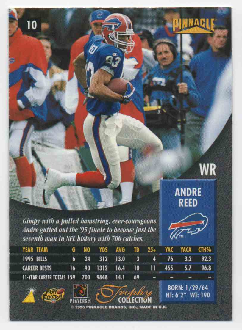 1996 Pinnacle Trophy Collection Andre Reed #10 card back image