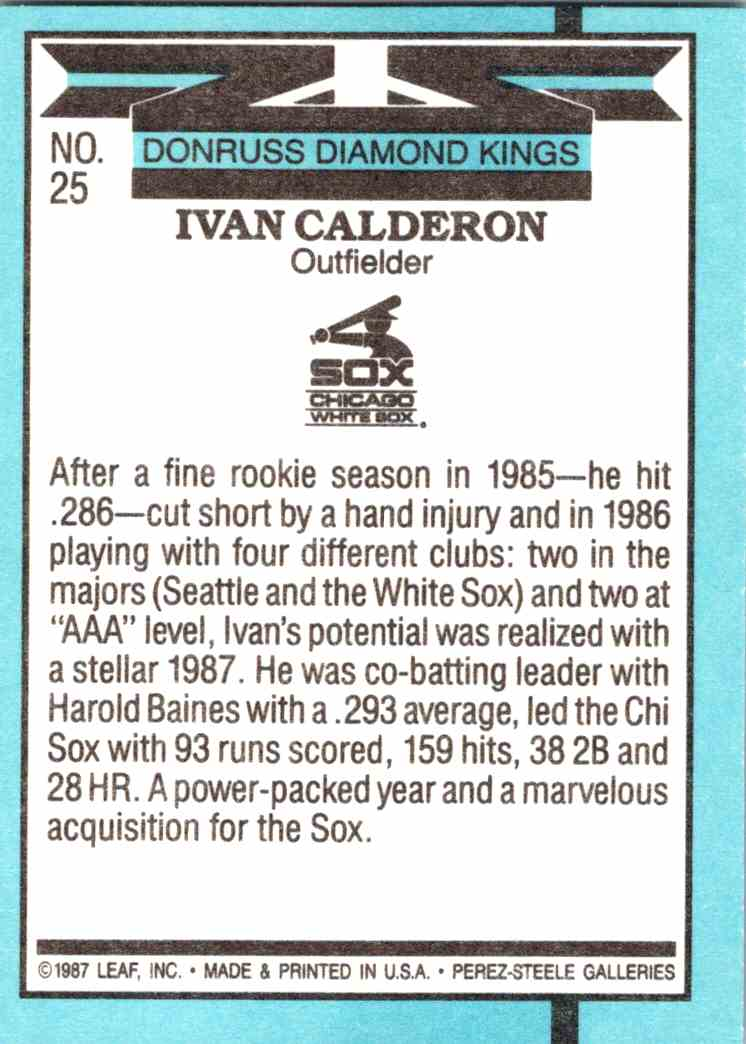 1988 Donruss Diamond Kings Ivan Calderon #25 card back image