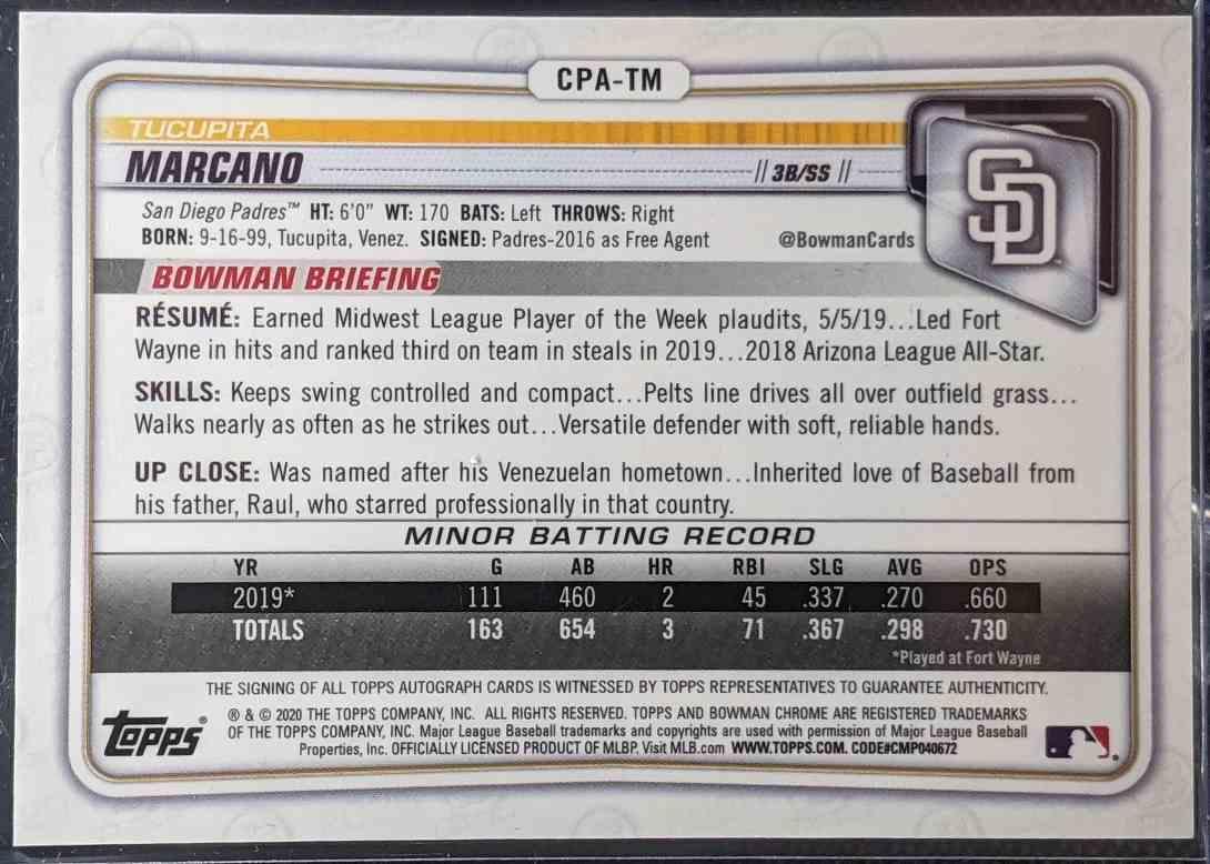 2020 Bowman Chrome Prospect Autographs Tucupita Marcano #CPA-TM card back image