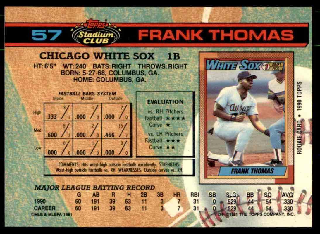 1991 Topps Stadium Club Frank Thomas 57 On Kronozio