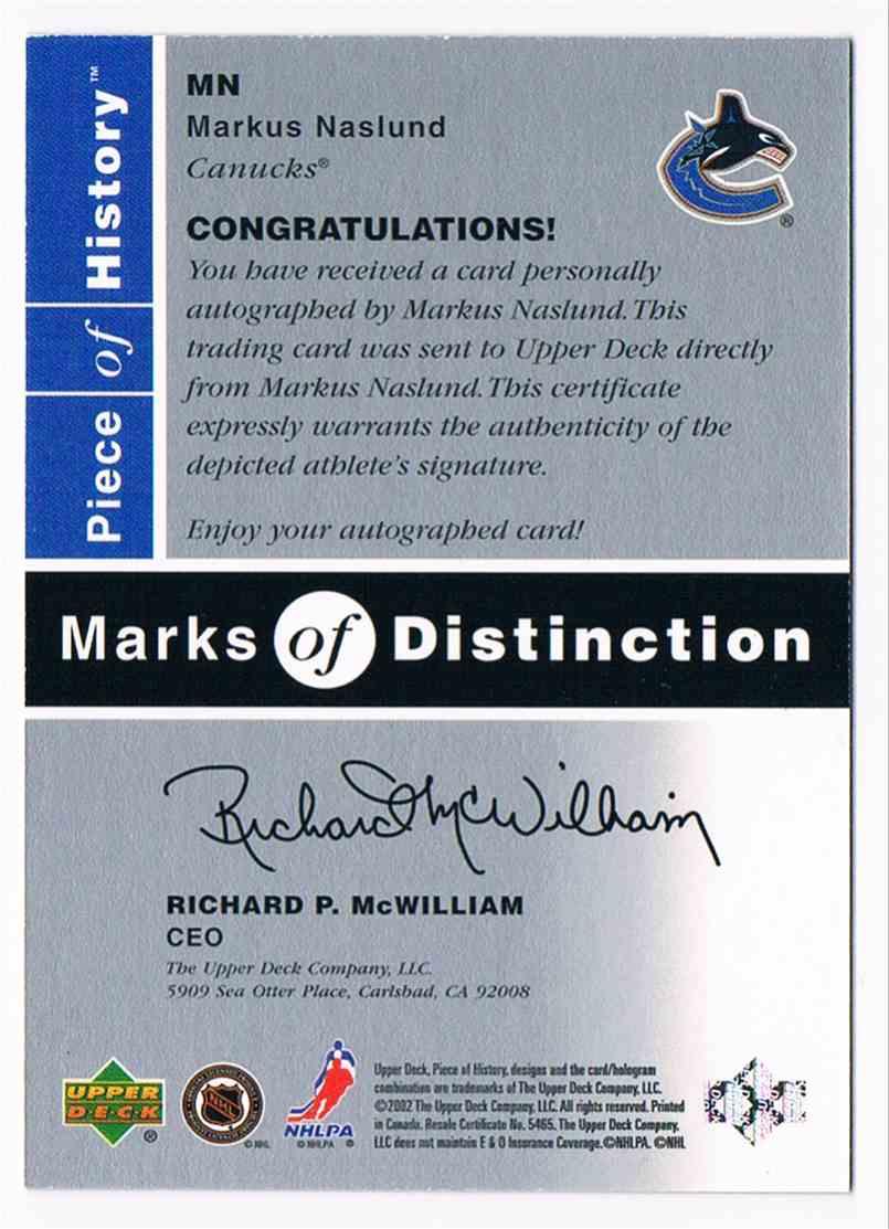 2002-03 Upper Deck Piece Of History Marks Of Distinction Markus Naslund #MN card back image