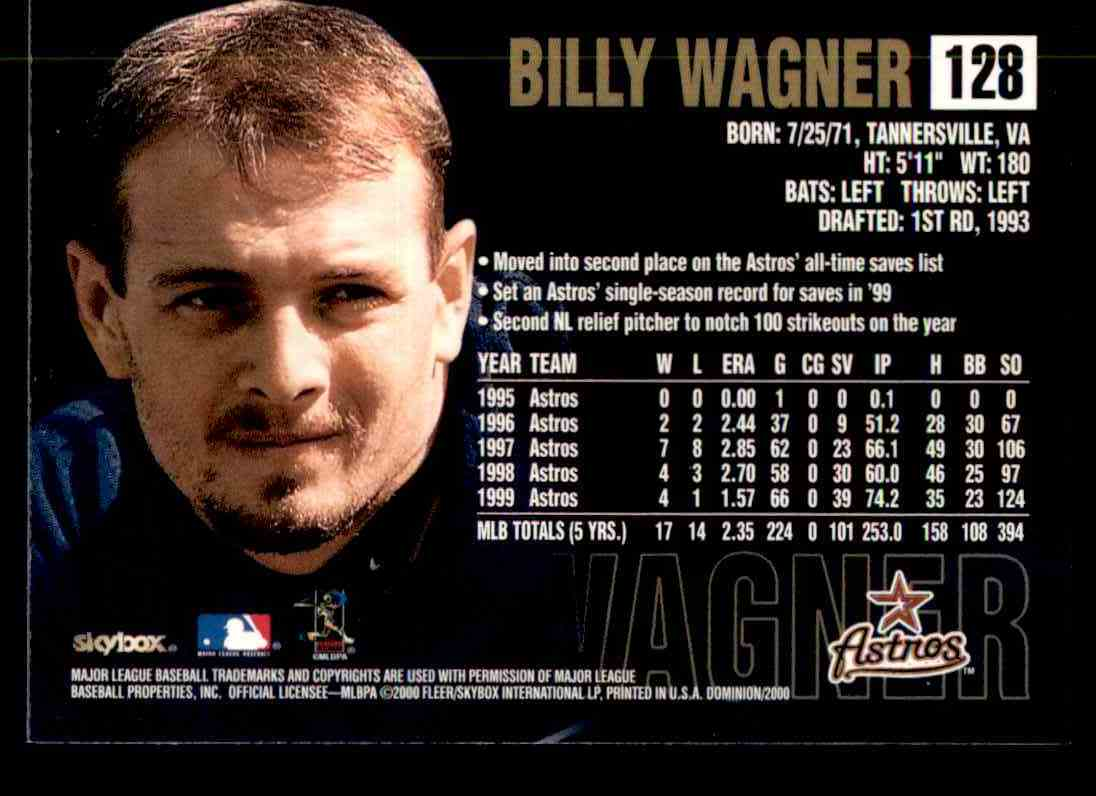 2000 SkyBox Dominion Billy Wagner #128 card back image